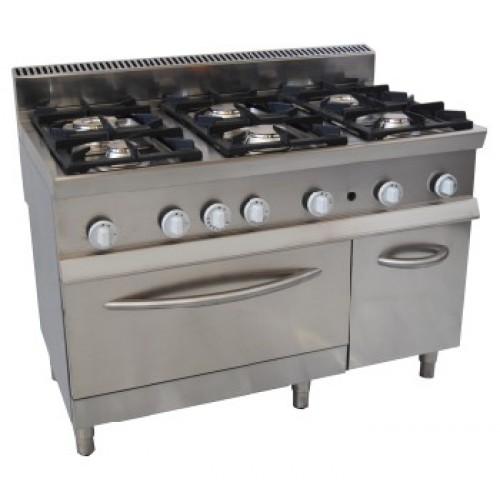 Cucina a gas 6 fuochi con forno 7cflg6fg attrezzature - Griglia da cucina ...
